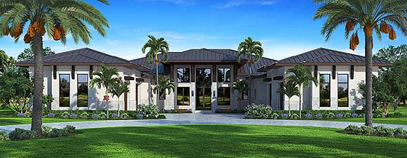 Contemporary House Plan 52972 with 5 Beds, 7 Baths, 4 Car Garage Elevation