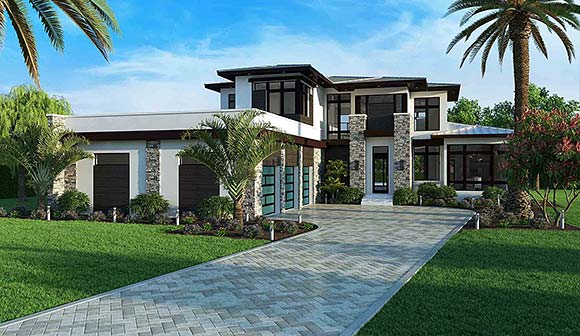 Contemporary House Plan 52973 with 3 Beds, 5 Baths, 3 Car Garage Elevation