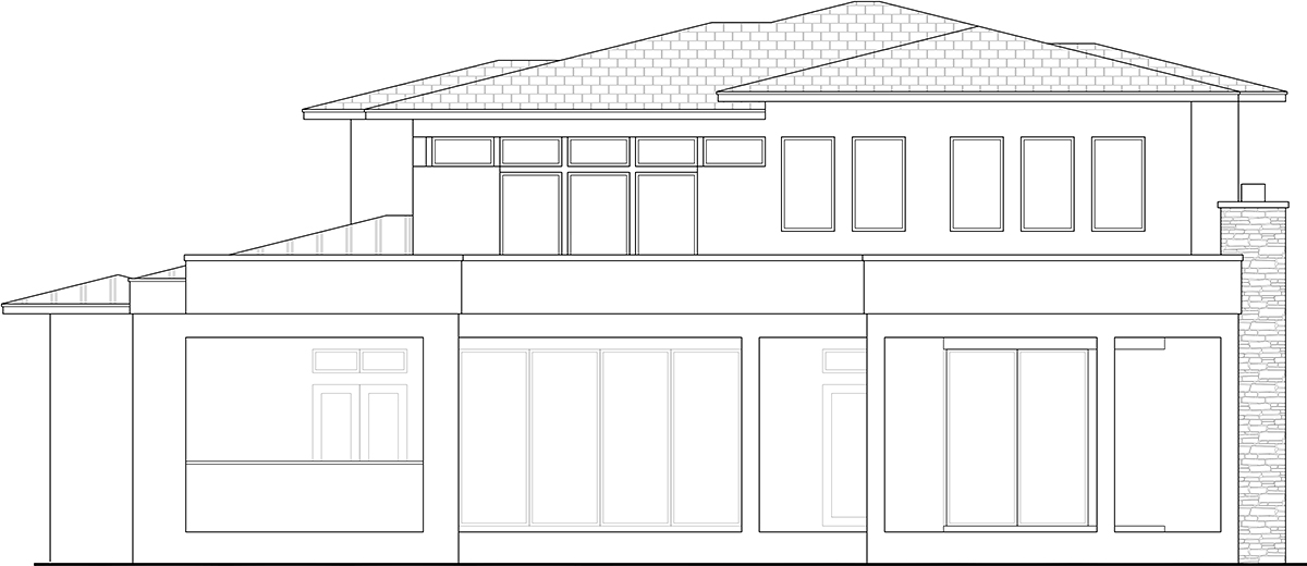 Contemporary House Plan 52973 with 3 Beds, 5 Baths, 3 Car Garage Rear Elevation
