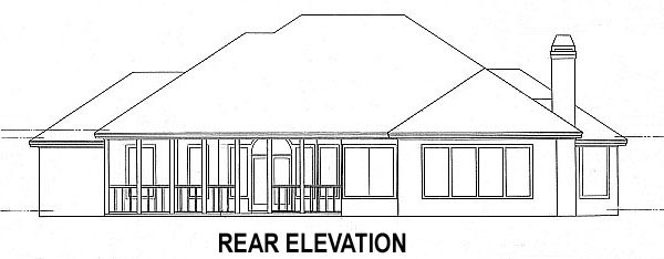 House Plan 53457 with 4 Beds, 4 Baths, 2 Car Garage Rear Elevation