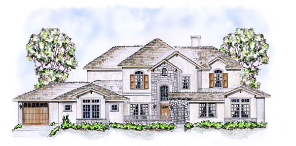 House Plan 53905 with 5 Beds, 5 Baths, 3 Car Garage Elevation