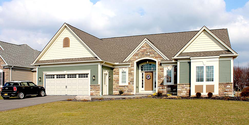 Ranch, Traditional House Plan 54066 with 3 Beds, 3 Baths, 2 Car Garage Elevation