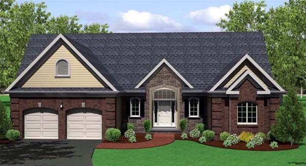 Ranch, Traditional House Plan 54066 with 3 Beds, 3 Baths, 2 Car Garage Picture 1