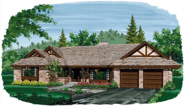 One-Story, Ranch House Plan 55180 with 4 Beds, 3 Baths, 2 Car Garage Elevation
