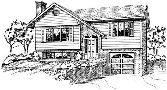 Contemporary House Plan 55185 with 3 Beds, 1 Baths, 1 Car Garage Elevation