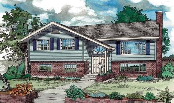 Contemporary, Retro House Plan 55187 with 5 Beds, 3 Baths Elevation