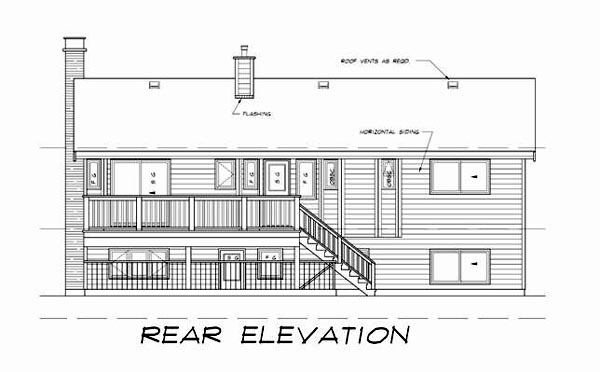 Contemporary, Retro House Plan 55187 with 5 Beds, 3 Baths Rear Elevation
