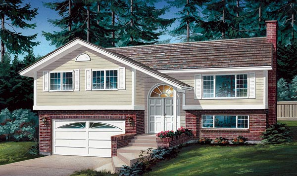 Ranch, Traditional House Plan 55188 with 3 Beds, 2 Baths, 2 Car Garage Elevation