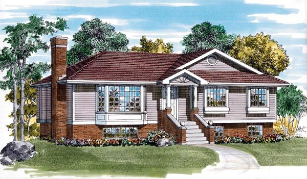 One-Story, Traditional House Plan 55254 with 3 Beds, 2 Baths Elevation