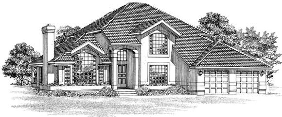 Mediterranean House Plan 55484 with 3 Beds, 3 Baths, 2 Car Garage Elevation