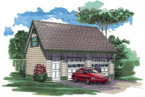 Cape Cod 2 Car Garage Plan 55530 Elevation