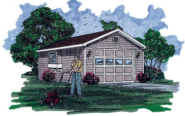 Traditional 1 Car Garage Plan 55554 Elevation