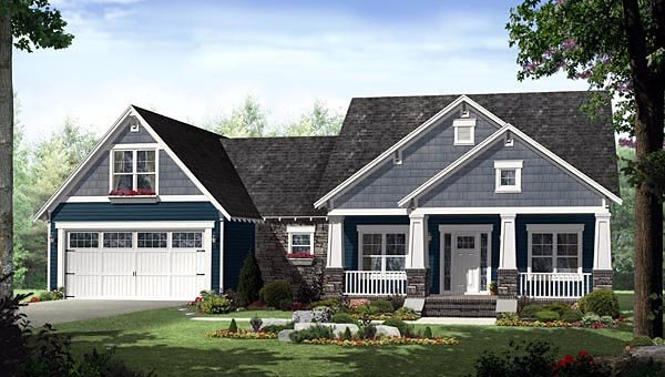 Cottage, Country, Craftsman House Plan 55603 with 3 Beds, 2 Baths, 2 Car Garage Elevation
