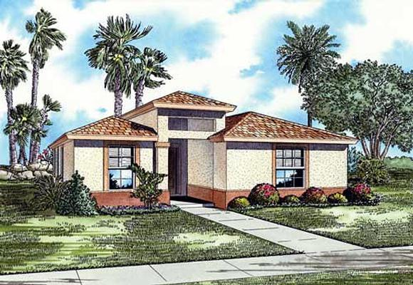 Narrow Lot, One-Story House Plan 55716 with 3 Beds, 2 Baths Elevation