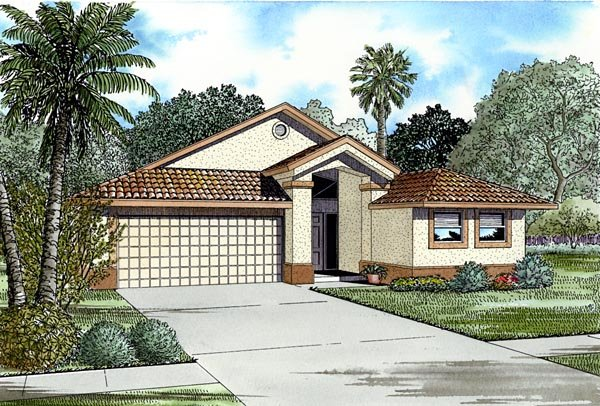 Narrow Lot, One-Story House Plan 55720 with 4 Beds, 3 Baths, 2 Car Garage Elevation