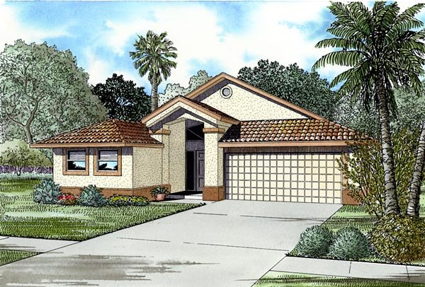 Florida, Narrow Lot, One-Story House Plan 55721 with 4 Beds, 3 Baths, 2 Car Garage Elevation