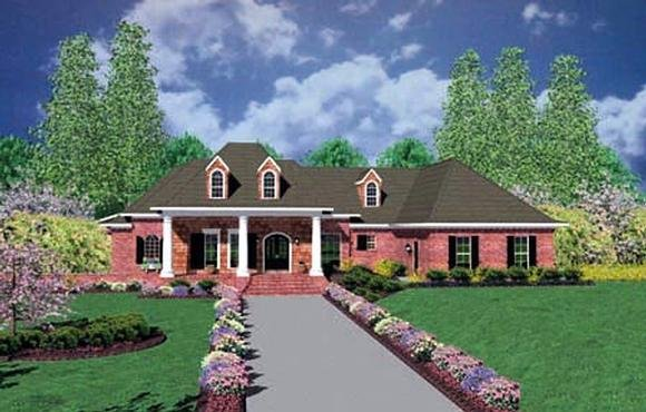 Colonial, One-Story House Plan 56329 with 3 Beds, 3 Baths, 3 Car Garage Elevation