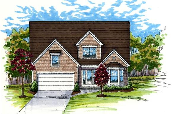 Colonial, Country, Traditional House Plan 56406 with 3 Beds, 3 Baths, 2 Car Garage Elevation