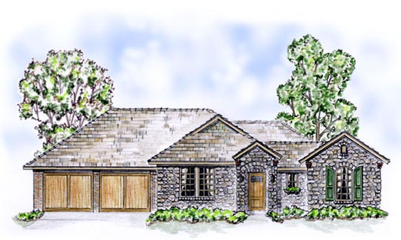 European, Traditional House Plan 56522 with 2 Beds, 3 Baths, 2 Car Garage Elevation