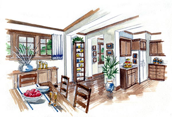 Country, Farmhouse, Traditional House Plan 56531 with 3 Beds, 3 Baths, 2 Car Garage Picture 2
