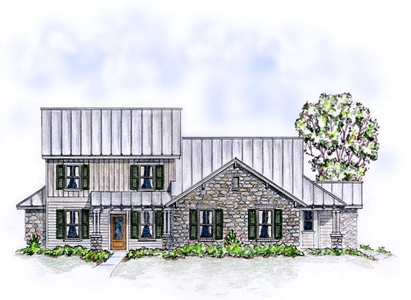 Country, Craftsman, Farmhouse Multi-Family Plan 56562 with 5 Beds, 4 Baths, 2 Car Garage Elevation