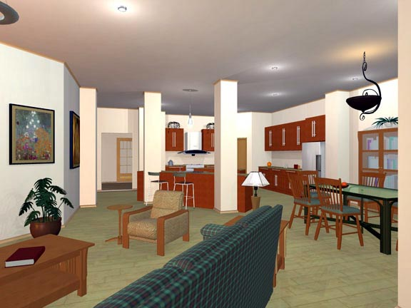 European, Ranch, Traditional House Plan 56565 with 3 Beds, 2 Baths, 2 Car Garage Picture 3