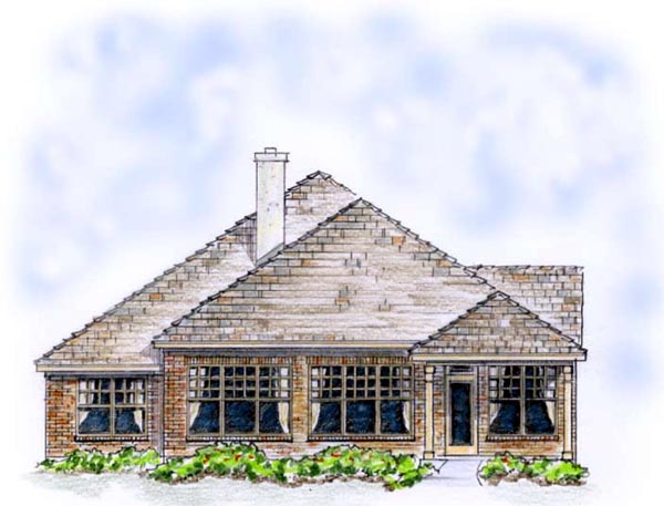 European, Ranch, Traditional House Plan 56565 with 3 Beds, 2 Baths, 2 Car Garage Rear Elevation