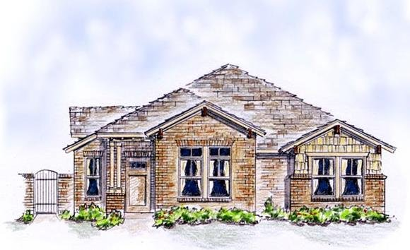 Bungalow, Country, European, Farmhouse, Traditional House Plan 56575 with 3 Beds, 2 Baths, 2 Car Garage Elevation