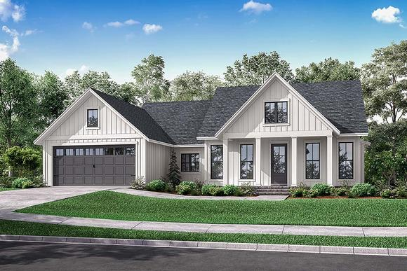 Country, Farmhouse, One-Story, Traditional House Plan 56715 with 3 Beds, 2 Baths, 2 Car Garage Elevation