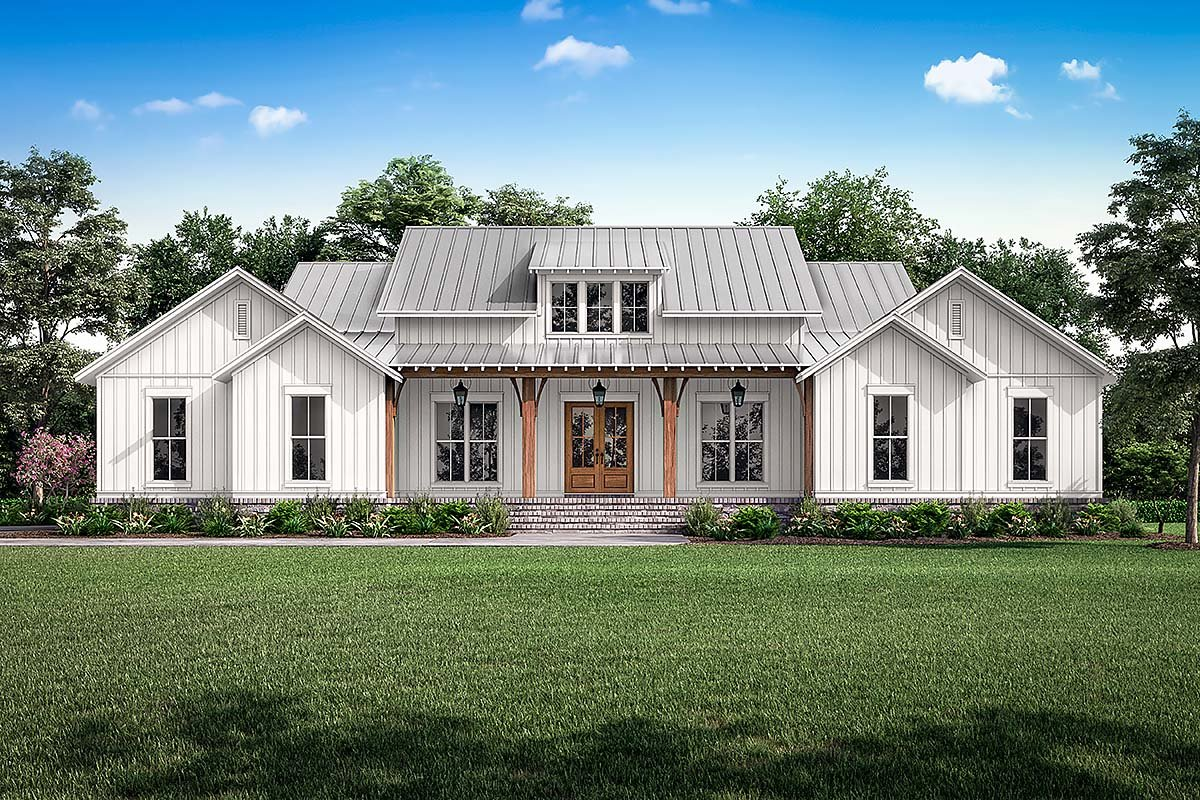 Country, Farmhouse, Southern, Traditional House Plan 56718 with 3 Beds, 3 Baths, 2 Car Garage Elevation