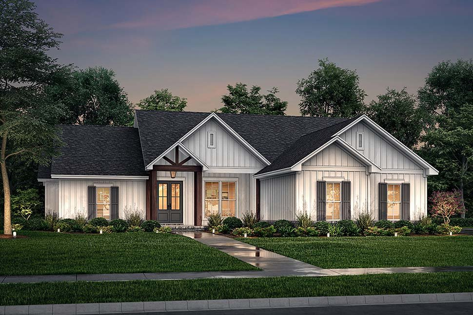 Country, Farmhouse, One-Story House Plan 56719 with 4 Beds, 2 Baths, 2 Car Garage Picture 4