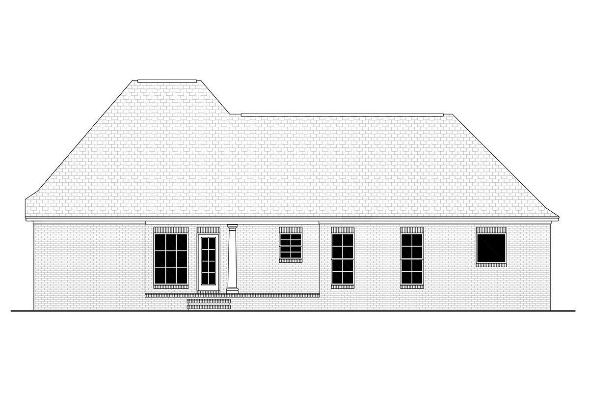 Colonial, French Country, Southern House Plan 56900 with 3 Beds, 2 Baths, 2 Car Garage Rear Elevation