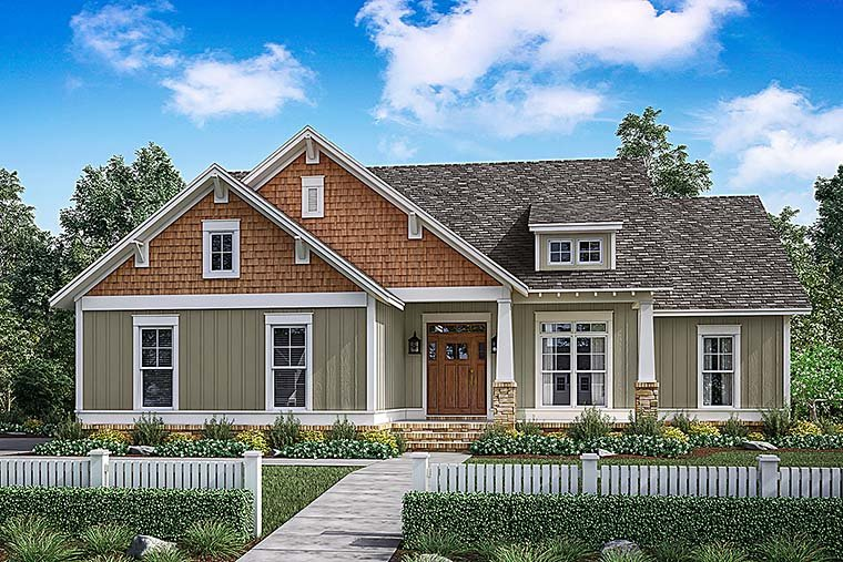 Cottage, Country, Craftsman, Traditional House Plan 56901 with 3 Beds, 2 Baths, 2 Car Garage Elevation