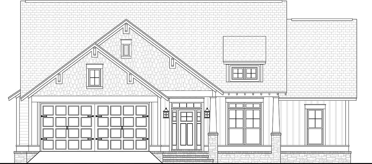 Cottage, Country, Craftsman, Traditional House Plan 56901 with 3 Beds, 2 Baths, 2 Car Garage Picture 1
