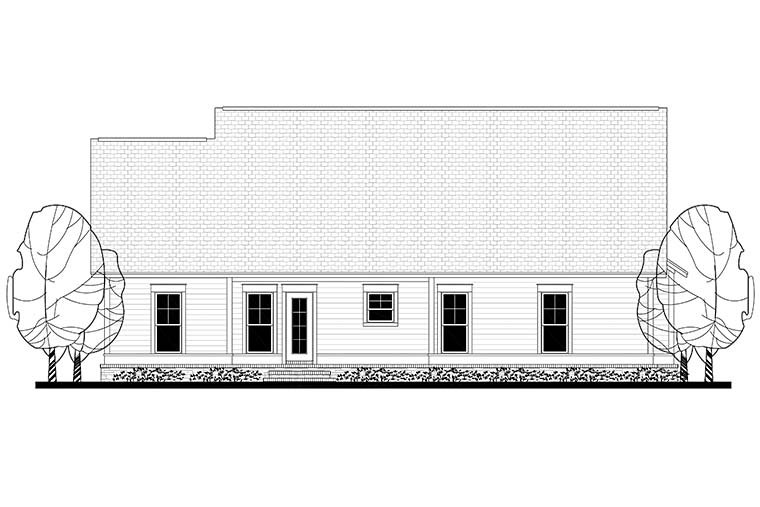 Cottage, Country, Craftsman, Traditional House Plan 56901 with 3 Beds, 2 Baths, 2 Car Garage Rear Elevation