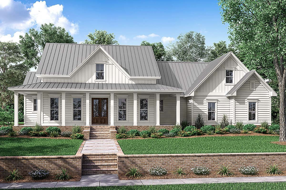 Country, Farmhouse, Southern, Traditional House Plan 56916 with 3 Beds, 3 Baths, 2 Car Garage Elevation