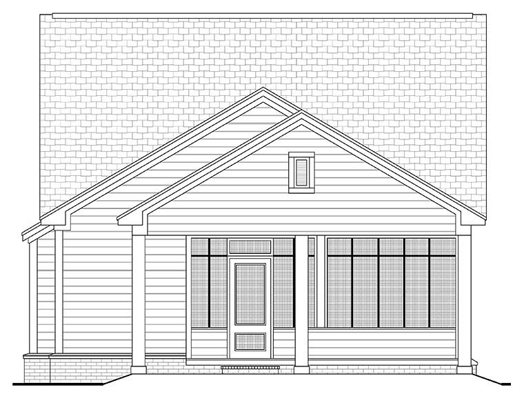 Cottage, Country, Southern, Traditional House Plan 56937 with 3 Beds, 2 Baths, 2 Car Garage Rear Elevation