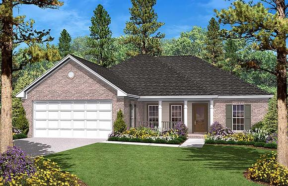 Country, Ranch, Traditional House Plan 56945 with 3 Beds, 2 Baths, 2 Car Garage Elevation