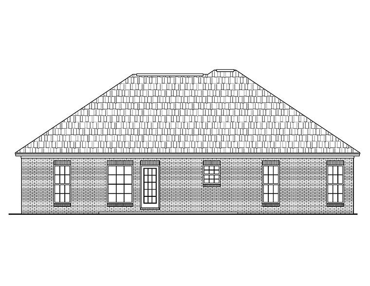 Country, Ranch, Traditional House Plan 56945 with 3 Beds, 2 Baths, 2 Car Garage Rear Elevation