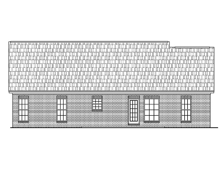 Country, Ranch, Traditional House Plan 56946 with 3 Beds, 2 Baths, 2 Car Garage Rear Elevation
