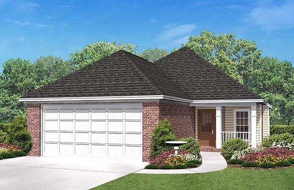 Country, Ranch, Traditional House Plan 56954 with 3 Beds, 2 Baths, 2 Car Garage Elevation