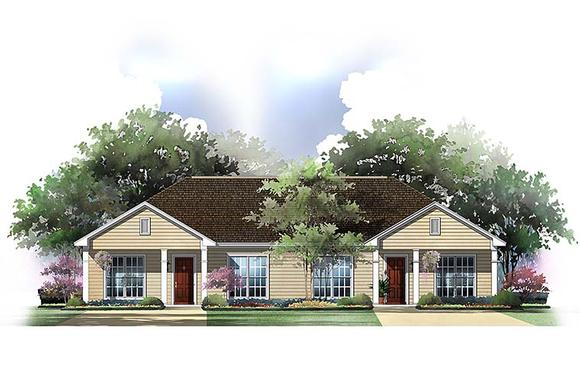 Country, Ranch Multi-Family Plan 56995 with 4 Beds, 4 Baths Elevation