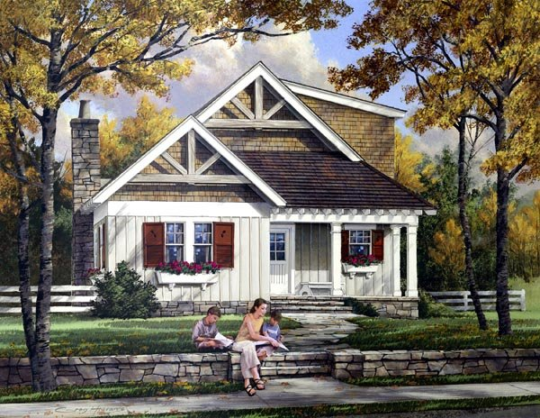 Craftsman House Plan 57068 with 3 Beds, 3 Baths Elevation