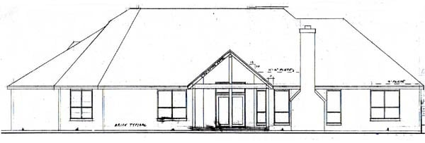 Traditional House Plan 57184 with 4 Beds, 3 Baths, 3 Car Garage Rear Elevation
