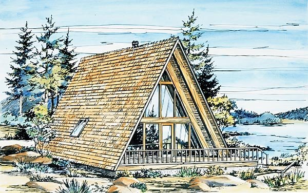 A-Frame, Narrow Lot House Plan 57368 with 1 Beds, 1 Baths Elevation