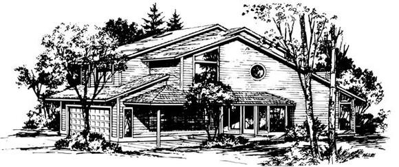 Contemporary, Narrow Lot House Plan 57432 with 4 Beds, 3 Baths, 2 Car Garage Elevation