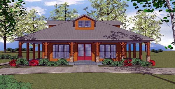 Cottage, Florida, Southern House Plan 57894 with 2 Beds, 2 Baths Elevation