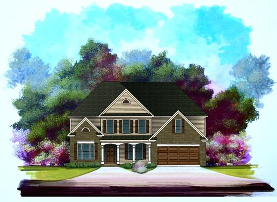 Traditional House Plan 58184 with 5 Beds, 3 Baths, 2 Car Garage Elevation