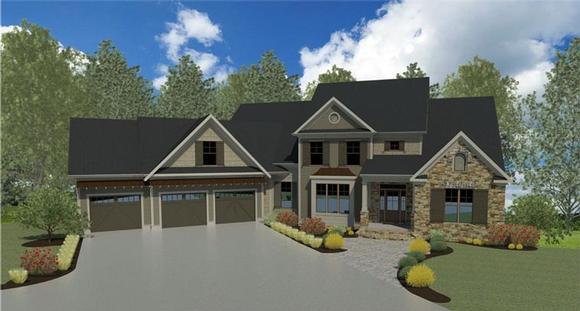 Craftsman, Traditional House Plan 58237 with 5 Beds, 5 Baths, 3 Car Garage Elevation