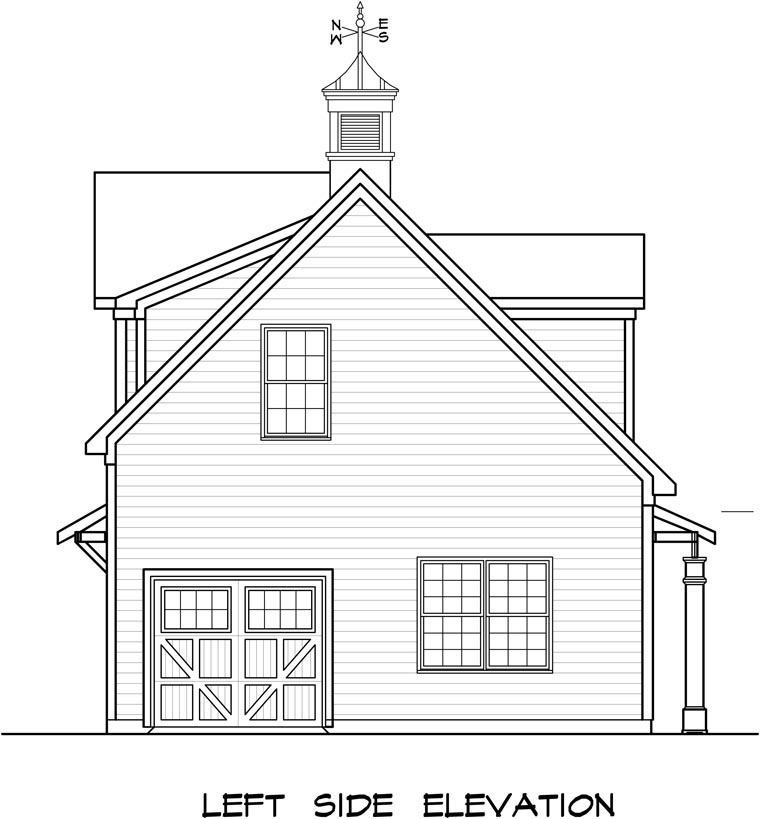 Colonial, Country, Southern Garage-Living Plan 58248 with 1 Beds, 1 Baths, 3 Car Garage Picture 1